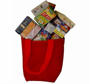 Einkaufstasche rot Stoff gefüllt Spielzeug Kaufladen-Zubehör in Stofftasche