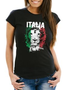 Damen T-Shirt Fanshirt Italien Löwe Flagge Fußball EM WM Italy SlimFit MoonWorks schwarz XS