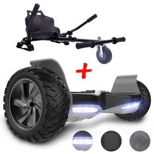 Self Balance Scooter 8,5 '' All-Terrain mit leistungsstarkem Motor Bluetooth eingebaut + Hoverkart Zubehör für Elektrisches Scooter BLACK