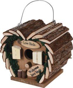 Vogel Nisthaus aus Holz Herz Lovebirds Vogelhaus Nistkasten 17 x 12 x 17cm