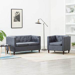 Chesterfield Sofa-Set 2-tlg. Stoffpolsterung Grau