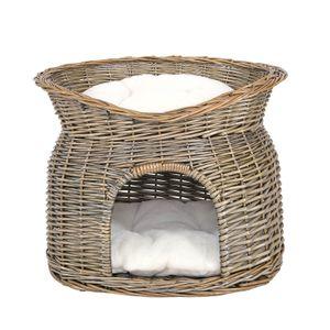 dibea Weidenkorb für Katzen Katzenhöhle Katzenkorb mit Kissen 55x39x43 cm Grau