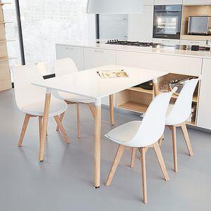 Esstisch mit 4 Stühlen Weiß Esszimmer Essgruppe 110x60x75cm Weiß für Esszimmer Essgruppe(Weiß)