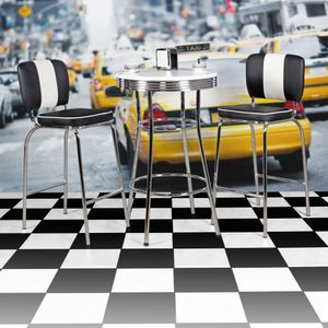 WOHNLING Bartisch rund ELVIS Ø 60 cm American Diner MDF Holz & Alu Stehtisch Design Partytisch Retro USA Bistrotisch