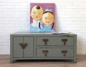 TV Kommode chinesisch Asia Sideboard orientalisches Lowboard Schrank asiatisch shabby Landhaus Vintage-Stil Holz hellgrau
