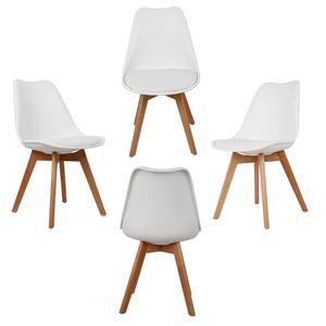 4er Set Design Esszimmerstuhl   Kunstleder weiß Polstersessel Loungesessel Stuhl  Küche Esszimmer