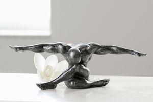 Edle Skulptur Cliffhanger antik silber Mann Kunstobjekt Figur