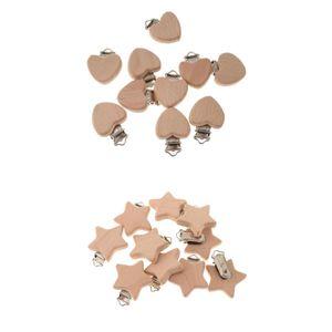 Baby Holz Schnullerclips Set Schnullerketten Clips Schnuller Halter für Neugeborene Krankenpflege Spielzeug, 20 Stück