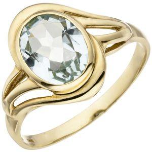 JOBO Damen Ring 585 Gold Gelbgold 1 Aquamarin Goldring Größe 58