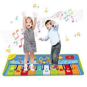 Tanzmatte, Kinder Musikmatte, Klaviermatte mit 8 Instrumenten, Klaviertastatur Musik Playmat Spielzeug für Babys, Kinder, Mädchen und Junge (128x38 cm)