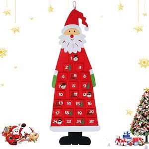 Adventskalender zum Befüllen Kinder, Stoff-Adventskalender, Weihnachtskalender selbst Befüllen Santa, XXL Adventskalender Taschen, Weihnachtskalender zum Befüllen Kinder Stoff
