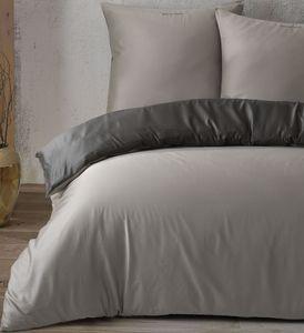 Bettwäsche Baumwolle Satin 200 x 200 cm Grau Anthrazit einfarbig Uni mit Reißverschluss, 3-tlg