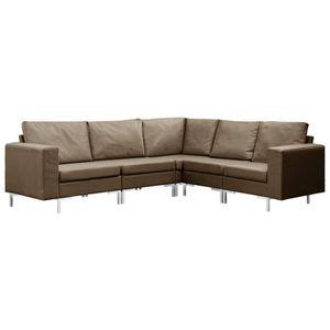Wohnlandschaft Sofa Couch 5-tlg. Sofagarnitur Stoff Braun