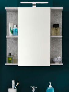 Bad Spiegelschrank grau Stone Design grau 60 x 62 cm mit LED Beleuchtung - Trendteam Nano