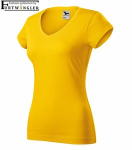 T-Shirt gelb S Damenshirt V-Ausschnitt Furtwängler Fit V-Neck 180 g/m² Baumwolle