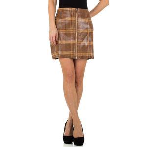 Ital-Design Damen Röcke Röcke In Lederoptik Braun Gr.l