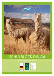 Schulblock / blanko / DIN A4 / gelocht / 50 Blatt