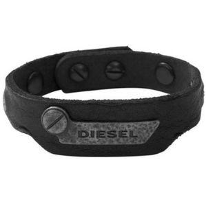 Diesel DX0572 Herren Armband DX 0572 Leder USED LOOK schwarz grau 21,5 cm