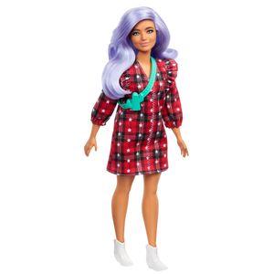 Barbie Fashionistas Puppe im karierten Kleid, Anziehpuppe, Modepuppe