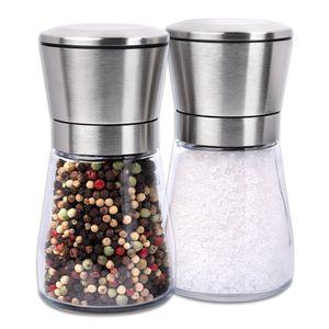 Schramm® 2 Stück Salz- und Pfeffermühle im Set ca. 13cm Gewürzmühlen manuell Edelstahl unbefüllt mit Keramik Mahlwerk Salzmühle Pfeffermühle