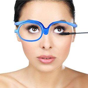 Make-Up Schminkbrille mit klappbaren Brillenglas, Make-Up Schminkbrille mit klappbaren Brillenglas Modische Schminkhilfe (Blau 250)
