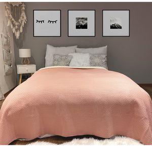 Tagesdecke gesteppt Bett & Sofaüberwurf Altrose/ Sherpa 220cm x 200cm