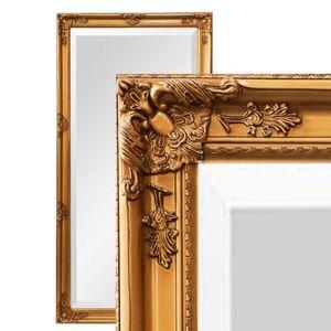 XXL Wandspiegel Spiegel gold 200 x 100 cm Antik-Stil barock m. Facettenschliff Ankleidespiegel Ganzkörperspiegel