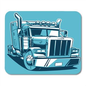 PKQWTM Trailer Classic American Truck Cartoon Duotone Semi Big Traktor Mousepad Mauspad Mausmatte 22x25 cm