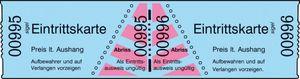 Eintrittskarten in Rollen, blau, fortlaufend nummeriert, 60x30 mm, 1000 Stück, 1000 Stück, Menge: 1000 (Neu)