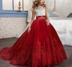 Kinder Blumenmädchen Tüll Partykleid Prinzessin Tutu Spitze Hochzeit Abendkleid Rot 130
