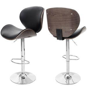 Barhocker Foxrock, Barstuhl, Holz Bugholz Retro-Design  grau, Kunstleder schwarz