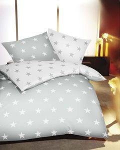 Kaeppel Biber Bettwäsche Sterne Stars 135x200 cm + 80x80 cm Schiefer