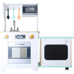 Small Foot 10047 Kinderküche mit Tresen Modern, weiß/natur (1 Stück)