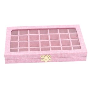 28 Gitter Aufbewahrungsbox Schmuck Perlen Ohrring Ringhalter Mini Dinge Halter Rosa wie beschrieben