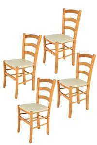 t m c s Tommychairs - 4er Set Stühle VENICE für Küche und Esszimmer, robuste Struktur aus lackiertem Buchenholz im Farbton Honig und gepolsterte Sitzfläche mit Kunstleder in der Farbe Elfenbein bezogen