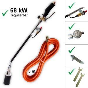 Abflammgerät mit Druckregler Unkraut-Vernichter Auftaugerät Anwärmbrenner mit Piezozündung Unkrautvernichter 68 kW mit G