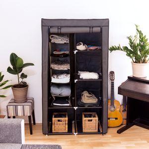 Navaris 2er Set Stoffregal Kleiderschrank Organizer - 2x 6 Fächer Hängeregal aus Stoff für Kleiderschrank - 30x30x126cm Hängeaufbewahrung in Braun