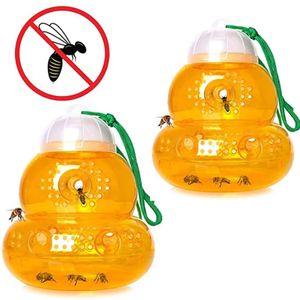 4 Stk. Wespenfalle, Hängende Kalebasse Form Honigbienenfalle wiederverwendbar Wespenfallenfänger Wespenabschreckung mit hängendem Seil