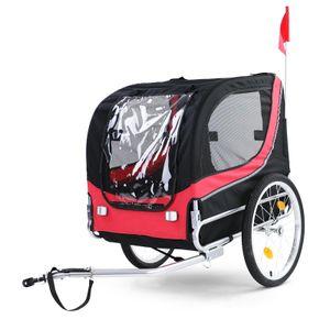 Fahrradanhänger Hundeanhänger klappbar für Haustiere Rot Schwarz bis 40Kg