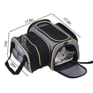 Dadypet Expandable 600D Material Reisen Pet Carrier Soft Seitige faltbare Haustier Hund Katze Tragetasche mit Fleece-Matte Grosse Space Easy weiter auf Gepaeck mit Taschen zu speichern Waren Die meisten Airline genehmigt