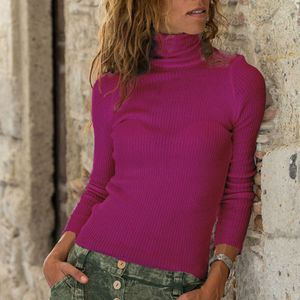 Mode Damen Rollkragenpullover Langarm Baumwolle T-Shirt Casual Tops HCJ91010013 Größe:M,Farbe:Rot