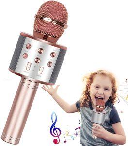Karaoke Mikrofon Kinder Drahtloses Bluetooth Mikrofon mit LED Leuchten, Tragbarer Karaoke Maschinen Lautsprecher Kompatibel mit Android/IOS, Kindermikrofon für Musik Spielen KTV Party
