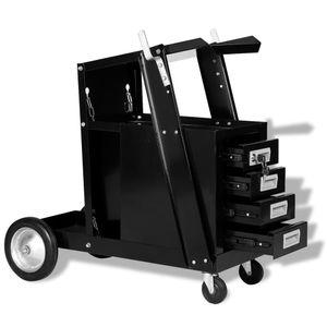 Schweißwagen mit 4 Schubladen Schwarz