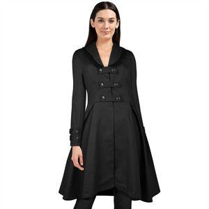 Gothic halblanger Mantel Frühling in schwarz Uniformstil 38