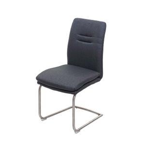 Esszimmerstuhl MCW-H70, Küchenstuhl Freischwinger Lehnstuhl Stuhl, Stoff/Textil Edelstahl gebürstet  dunkelgrau