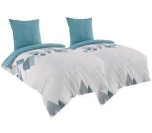 Bettwäsche 135x200 + 80x80 cm Baumwolle Renforce Geometrische Muster türkis weiß, 4-teilig