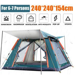 Pop-up Familie Camping Zelt für 6-7 Personen, 240 x 240 x 154cm Wasserdicht Schnell einrichten Doppeltür Wurfzelt für Outdoor Camping, Wandern, Angeln (Grün)