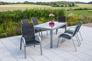 Merxx 7tlg. Amalfi Gartenmöbelset, schwarz - 6 Sessel, 1 Tisch - Farbe: schwarz - Maße: Sessel: 75x57x95 Tisch: 160/220x90x75; 6x 26310-317 +  1x 26452-219