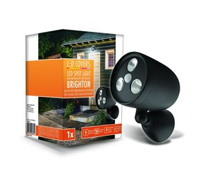 LED LOVERS LED Wandleuchte aussen mit Bewegungsmelder, 3 LED Spot batteriebetrieben, PIR Bewegungssensor, Aussenleuchte Wand wasserdicht, wetterfest, Schwarz