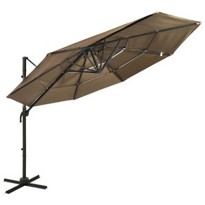 vidaXL Sonnenschirm mit Aluminium-Mast 4-lagig Taupe 3x3 m